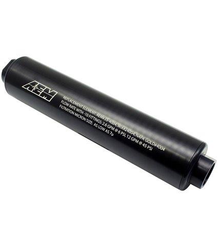 AEM High Flow -10AN Inline Fuel Filter - Black