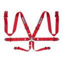 Sparco 6-Point 3in Pull Up Harness - Red