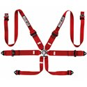 Sparco 6-Point HANS 3in-to-2in Aluminum Pull-Up Harness - Red