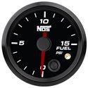 NOS Fuel Pressure Gauge w/ Sending Unit - 52mm / 0-15 PSI / Black