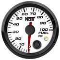 NOS Fuel Pressure Gauge w/ Sending Unit - 52mm / 0-100 PSI / White