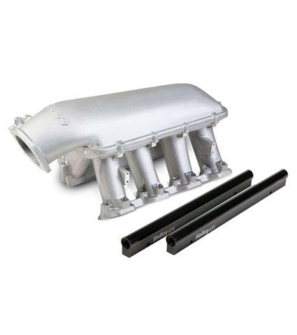 Holley Hi-Ram Manifold Kit w/ Single Rails for 92mm Throttle Body - Satin - GM LS1 / LS2 / LS6