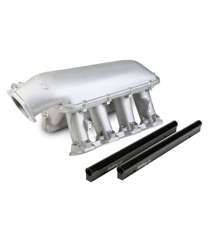 Holley Hi-Ram Manifold Kit w/ Single Rails for 105mm Throttle Body - Satin - GM LS1 / LS2 / LS6
