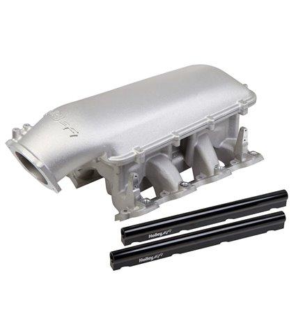 Holley Mid-Rise Manifold Kit w/ Single Rails w/ 92mm Plenum Top - Satin - GM LS1 / LS2 / LS6