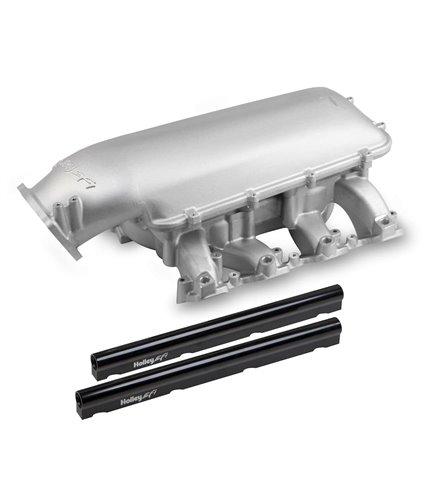 Holley Mid-Rise Manifold Kit w/ Single Rails w/ 92mm Plenum Top - Satin - GM LS3 / L92