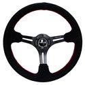 NRG Reinforced Steering Wheel - 350mm x 3in Deep Slit Spoke - Suede / Red Stiching