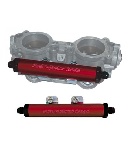 FIC Top Feed Conversion Fuel Rails w/ -6AN / -6AN Fittings - Red - Subaru
